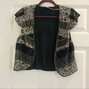Zara beaded embellished bolero jacket vest